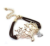 Golden Art Tree Bird Pendant Brown Leather Cord Bracelet 16CM