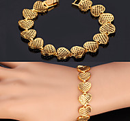 U7® Women's Vintage Hearts 18K Chunky Yellow Gold Platinum Plated Bracelet Chain Bangle for Women 20CM