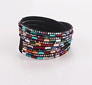 Eruner®Multilayer Multicolor Rhinestone Leather Bracelet(Black)