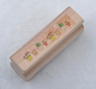 Long Wooden Stamp(Flower Pot)