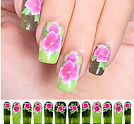 12PCS Pink Flower Green Watermark Nail Art Stickers C6-010