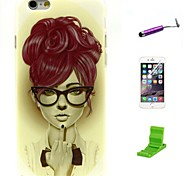 Long Hair Girl Pattern TPU Soft with Screen Protector and Stylus for iPhone 6