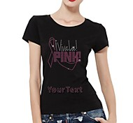 Personalized T-shirts Viva La Pink Pattern Women's Cotton Short Sleeves