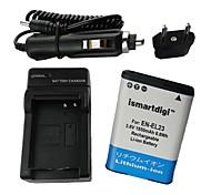 ismartdigi-nik en-el23 (1850mAh, 3.8V) batería de la cámara + eu enchufe + cargador de coche para nikon coolpix p600