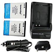 ismartdigi-nikon en-el23 x2 (1850mAh, 3.8V) batería de la cámara + enchufe de la UE + cargador de coche para Nikon Coolpix P600