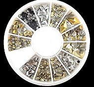 240PCS Nail Art Mixed Rivet Shapes Acrylic Rhinestone(Random Pattern)