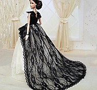 Barbie Doll Midnight Black Lace Chapel Train Party/Wedding Dress
