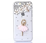 DIY Dancing Lady with Rhinestone Pattern Plastic Hard Cover for iPhone 6 Plus