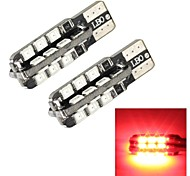 merdia t10 1s 250lm 24x2835smd a mené la lumière de côté de la lumière rouge / lampe de bord / feux diurnes (2 pièces / 12v)