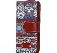 Blue Curtains Pattern Oxhide Character Retro PU Leather Case for iPhone4/4S