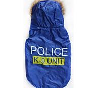 um hoodies legal k-9 padrão de algodão acolchoado grande cão colete para animais de estimação (cães tamanhos variados)
