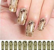 12PCS Brown Watermark Nail Art Stickers C6-003