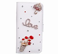 Fashion Flip PU Leather Bling Flower Wallet Protective Case Cover with Card Holder for iPhone 6 Plus