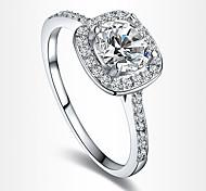 Жен. Массивные кольца Обручальное кольцо Любовь европейский Свадьба бижутерия Циркон Цирконий Серебрянное покрытие Позолота Искусственный