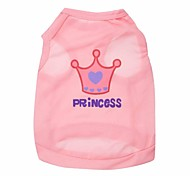 Lovely Princess Crown Pattern Terylene Vest for Dogs (Pink/Rose  XS-L)