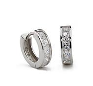 S925 Fine Silver AAA Zircon Hoop Stud Earrings,Unisex