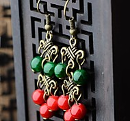 Chic (Court) Alloy Earrings (Green) (1 Pair)