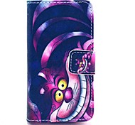 COCO FUN® Purple Carton Cat Pattern PU Leather Full Body Case with Screen Protector for iPhone 4/4S