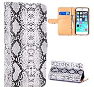 Snake Skin Pattern Wallet Style Card Slot Magnetic Flip Stand PC+PU Leather Case for iPhone 6(Assorted Colors)