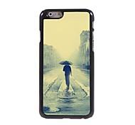 peinture à l'huile de marcher seul dans l'étui rigide motif de la pluie en aluminium pour l'iphone 6