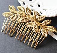 Metallic Melting Leaves Hair Comb