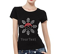 Personalized Rhinestone T-shirts Christmas Snowman Pattern Women's Cotton Short Sleeves