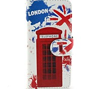 Telephone Booth Pattern Wallet PU Leather Flip Cover with Stand and Card Slot for iPhone 6 Plus