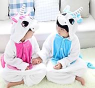 Kigurumi Pijamas Unicórnio Malha Collant/Pijama Macacão Festival/Celebração Pijamas Animal Azul Miscelânea Flanela Kigurumi Para Criança