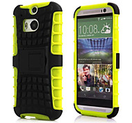 Solid Colour Hard/Soft Case Design with Stand for HTC M8
