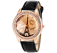 Women's Tower Pattern PU Band Quartz Wrist Watch (Assorted Colors)