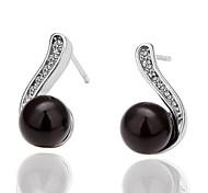 Fashion Black Imitation Pearl Black Platinum-Plated Stud Earrings (Black)(1Pair)