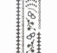 1pc Heart Jewelry Bracelet Waterproof Tattoo Sample Mold Temporary Tattoos Sticker for Hand Wrist(18.5cm*8.5cm)