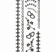 1pc Heart Jewelry Bracelet Waterproof Tattoo Sample Mold Temporary Tattoos Sticker for Hand Wrist(18.5cm*8.5cm)