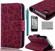 COCO FUN® Rose Leopard PU Leather Full Body Case with Screen Protector, Stand and Stylus for iPhone 4/4S