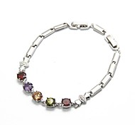 Fashion 18K Platimnum Plated CZ Cubic Zircon Gold Bracelet for Women Multicolor CZ Stones Christmas Gift
