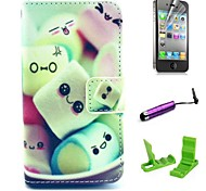 Cartoon Cotton Candy Pattern PU Leather hoesje with Screen Protector and Stylus for iPhone 4/4S
