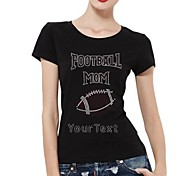 Personalized Rhinestone T-shirts Football Mom Pattern Women's Cotton Short Sleeves