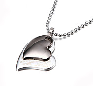 Two Layer Silver Bible Heart Zinc Alloy  Pendant Necklace