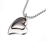 dos de plata capas collar de corazón de zinc biblia pendiente de la aleación