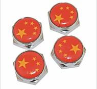 bouchons motif drapeau chinois bricolage de vis du boulon de la plaque d'immatriculation de métal universel pour voiture