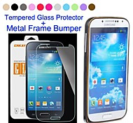 ENKAY  Metal Style Frame Bumper Case with Tempered Glass Screen Protector for Samsung Galaxy S4 i9500 (More Colors)
