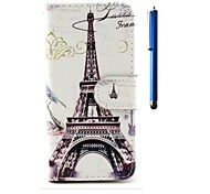 4.7 Inch Eiffel Tower Pattern PU Wallet Leather Case and Pen for iPhone 6