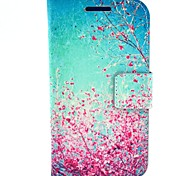 Beautiful  Cherry Blossoms Pattern PU Leather Hard Case with Card Slots for Samsung Galaxy Core I8262