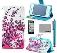 COCO FUN® Pink Floral Flower Pattern PU Leather Full Body Case with Screen Protector, Stand and Stylus for iPhone 4/4S