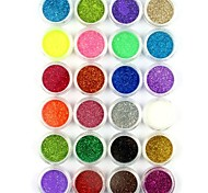 24PCS Small Nail Art Glitter Powder Nail Art Foil Powder Arylic Powder for Nail Decorations