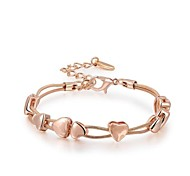 Concise Noble 18K Rose Gold Plated Clear Austria Crystal Lovely Heart Charm Bracelet