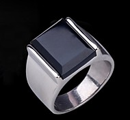 Ring Band Rings Sapphire Black Gemstone Gemstone Stainless Steel Silver Jewelry Gift 1pc