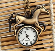 unisex estilo cavalo de quartzo liga analógico colar relógio (bronze)