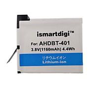 Ismartdigi 401 1160mAh Camera Battery Pack for Gopro 4 Camera AHDBT 401