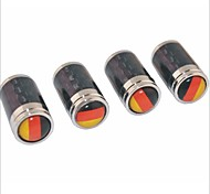 DIY Carbon Fiber German Flag Pattern Universal Tire Air Valve Caps--Black(4PCS)